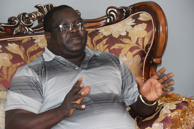 Former Information Minister Chishimba Kambwili speaks to journalist at his house in Lusaka. Picture By Tenson Mkhala