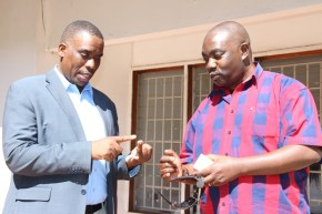 Party of National Unity (PNU) leader Highvie Hamududu with his secretary general Kasote Singogo at the party Secretariat in Lusaka. Picture by Tenson Mkhala