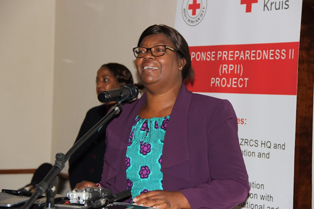 Minister in the office of the vice president Sylvia Chalikosa during the commissoning of the strengthening emergency response at Pamodzi Hotel in Lusaka-picture by Tenson Mkhala