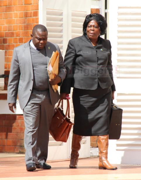 Foreign Affairs Minister Harry Kalaba and Lands Minister Jean Kapata at State House on July 6, 2017 - Picture by Joseph Mwenda