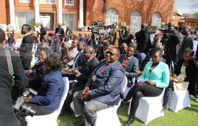Some journalists during President Edgar Lungu's press briefing at State House - picture by Joseph Mwenda