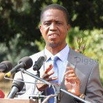 President Edgar Lungu addresses journalists at State House - picture by Joseph Mwenda