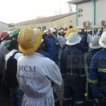 A manager addresses workers at Mopani Copper Mines