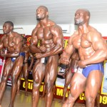 Sylvester Mwila (second right) wins the Mr Zambia title again. The 2017 challenge was held at Corossel Mall on Friday night - Picture by Godfrey Dube