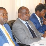 L-r: Parliamentary Public Accounts Committee (PAC) chairperson Howard  Kunda, Acting Auditor General Ron Mwambwa and Permanent Secretary in charge of remuneration division Kashell Mwenya during the launch of the 2018-2021 strategic plan at Golden Peacock Hotel in Lusaka on February 2018 - Picture by Tenson Mkhala
