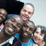 US Ambassador to Zambia Daniel Foote poses for a selfie with journalists after they completed an investigative journalism training course