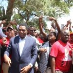 UPND leader Hakainde Hichilema with his supporters arrive at Woodlands Police Station to visit the incarcerated NDC leader Chishimba Kambwili on March 22, 2018 - Picture by Tenson Mkhala