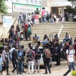 University of Zambia students queue up for key collection on March 13, 2018 - Picture by Tenson Mkhala