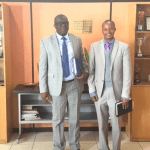 ACC Director General Kapetwa Phiri and TIZ Executive Director Wesley Chibamba posing for a photo after a successful meeting at ACC premises on May 24, 2018 - picture courtesy of TIZ