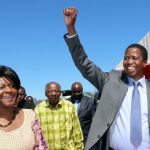 President Edgar Lungu with Mrs Mwanakatwe Minister Of Commerce and Trade at the IDC ,( Industrial development corporation ) driven initiative Solar Photovoltaic Power Plant. This is first solar power plant project in Zambia in partnership with Scaling Solar at the Multi facility economic Zone in Lusaka South.- Picture by EDDIE MWANALEZA /STATEHOUSE 07-05-2016.