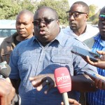 NDC Consultant Chishimba Kambwili speaks to journalists at Drug Enforcement Commission (DEC) offices shortly after he lodged a complaint against PF party's money laundering and criminal activities associated with presidential empowerment fund in Lusaka on July 31, 2018 - Picture by Tenson Mkhala