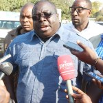 NDC leader Chishimba Kambwili speaks to journalists at Drug Enforcement Commission (DEC) offices shortly after he lodged a complaint against PF's alleged money laundering and criminal activities associated with presidential empowerment fund in Lusaka on July 31, 2018 - Picture by Tenson Mkhala