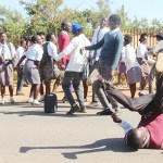Lusaka's Nyumba Yanga Primary School pupils protest over suspended grade 7, 9 and 12 examinations on October 29, 2018 – Picture by Tenson Mkhala