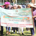 Teachers march as they commemorate this year's International Teacher's Day under the theme: 'The right to education is the right to a qualified teacher' held at Lusaka's Civic Centre Nakatindi ground on October 5, 2018 – Picture by Tenson Mkhala
