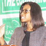 Consumer Unit Trust Society Center Coordinator Chenai Mukumba speaks during the Economic Association of Zambia (EAZ) and the British Chamber of Commerce public discussion on 2019 national budget analysis at Pamodzi Hotel in Lusaka on October 17, 2018 – Picture by Tenson Mkhala