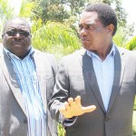 UPND leader Hakainde Hichilema confers with NDC consultant Chishimba Kambwili  when he paid a courtesy call on December 5, 2018 – Picture by Tenson Mkhala