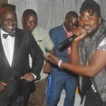 "Democratic Party 2021 presidential candidate Harry Kalaba dances to a DP political song called ""Kalaba talaba"" performed live by Kaka and Baraba of the Mimbulu Boys, during a fundraising dinner in Chingola on Saturday, December 8, 2018 - Picture by Thomas Mulenga"