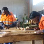 Some recipients of the Barrick Lumwana vocational skills training sponsorship during a joinery and carpentry class at Solwezi Trades Training Institute – Picture courtesy of SUMA SYSTEMS