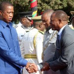 President Edgar Lungu greets PF Lusaka Province interim chairperson Paul Moonga when he arrived at the Freedom Statue during the Commemoration of African Freedom Day in Lusaka on May 25, 2019 - Picture by Tenson Mkhala