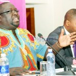 NDC leader Chishimba Kambwili with Patriots for Economic Progress leader Sean Tembo at the Public discussion organized by The Mast Newspaper at Pamodzi Hotel in Lusaka on June 17, 2019 - Picture by Tenson Mkhala