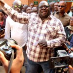 NDC leader Chishimba Kambwili speaks to journalists at Lusaka Magistrate's Court on September 30, 2019 - picture by Tenson Mkala