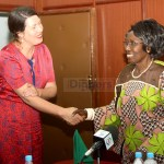 Vice-President Inonge Wina shakes hands with Swedish Ambassador to Zambia Anna Maj Hultgard during a meeting at Cabinet Office in Lusaka on December 4, 2019 - Picture by Tenson Mkhala