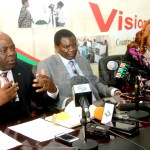 Home Affairs Minister Stephen Kampyongo addresses the media as general education Minister David Mabumba and Information and broadcasting Minister Dora Siliya listen during the joint press briefing in Lusaka on February 26, 2020 Picture by Tenson Mkhala