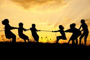 playing children sunset