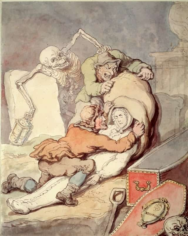 Two men placing the shrouded corpse which they have just disinterred into a sack while Death, as a nightwatchman holding a lantern, grabs one of the grave-robbers from behind. Coloured drawing by T. Rowlandson, 1775. Via Wellcome Images