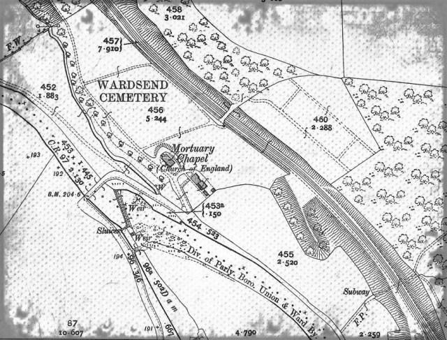 "Wardsend Cemetery taken from 1892 OS Map 25"""