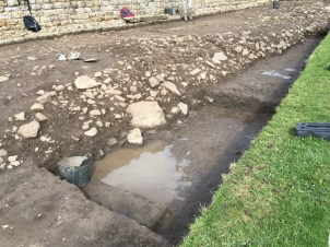 Pools in the fort ditch trench first thing
