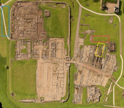 Aerial view of the site, taken by Adam Stanford, from the Vindolanda Trust excavation blog post of September 2015. Vicus trench in yellow, fort ditch trench in cyan, as well as the Severan ditch (pink) as a reminder of where all the hundreds of shoes came from.