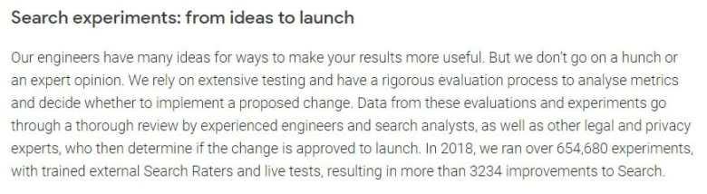 Google - Esperimenti di ricerca nel 2018