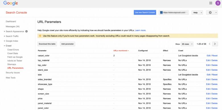 Esempio di parametri URL di Search Console