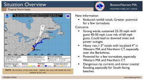 The current situation overview for Tropical Storm Isaias' impact in New England as of 5 a.m. Tuesday. (Image courtesy National Weather Service)