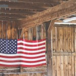 American Flag in barn