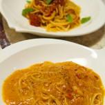 イタリアントマトのスパゲティとクリームアッラビアータ