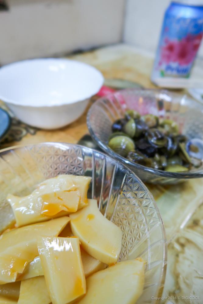 筍ラー油とシジミの醤油漬け