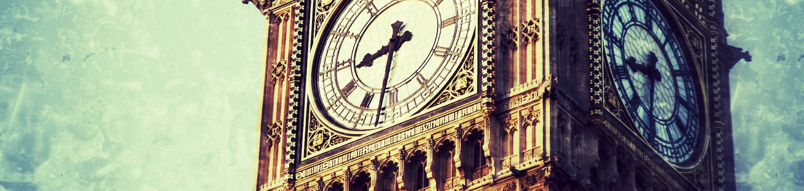 Big Ben in Central London in grunge style