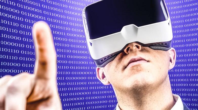 Businessman uses Virtual Reality VR head mounted display