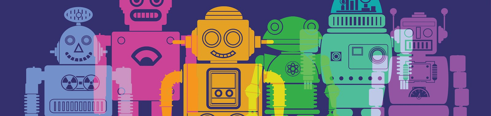 Colourful overlapping silhouettes of Robots. EPS10 file, best in RGB, CS5 versions in zip