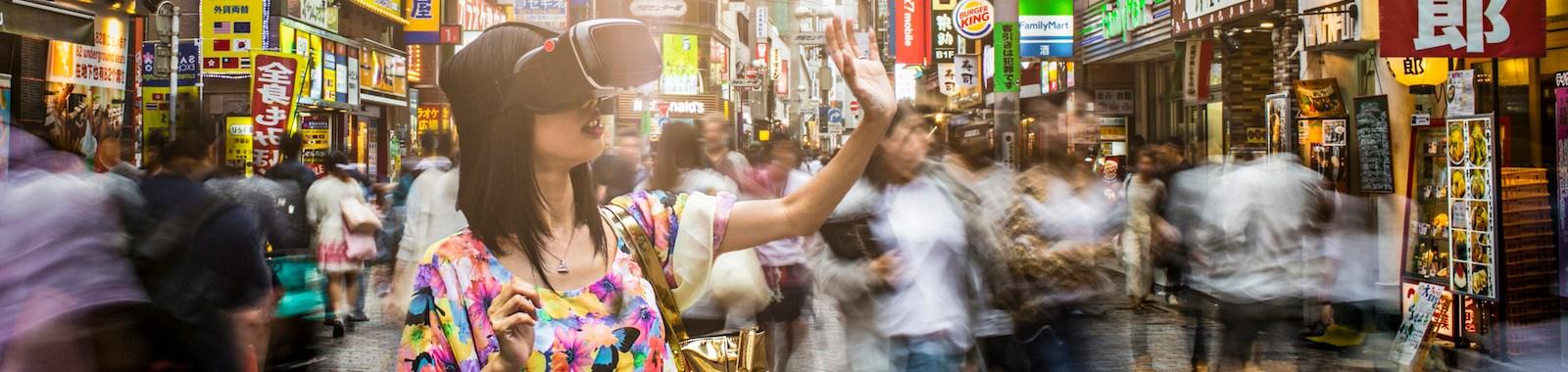 Japanese woman doing virtual shopping.