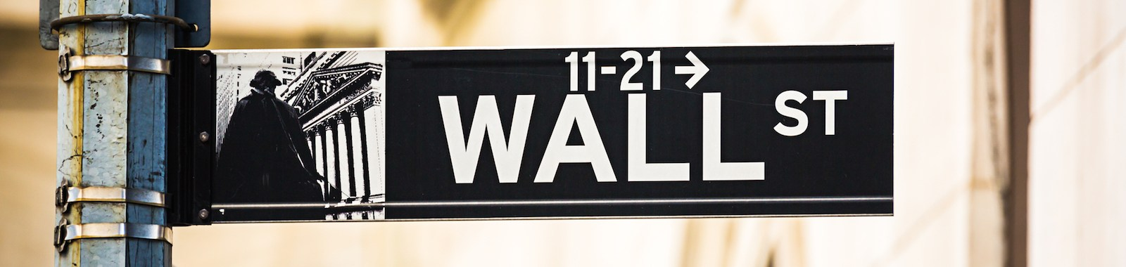 Wall Street sign, New York City, USA.