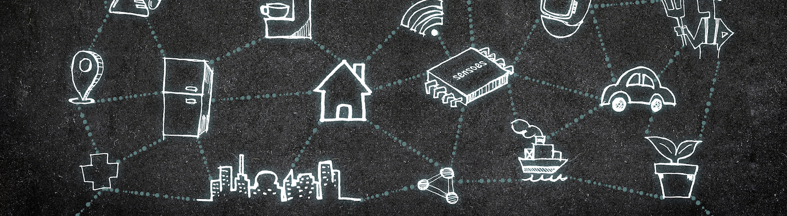 Internet of Things (IoT) word on wood floor with doodle icon on blackboard wall,Technology Concept Design.