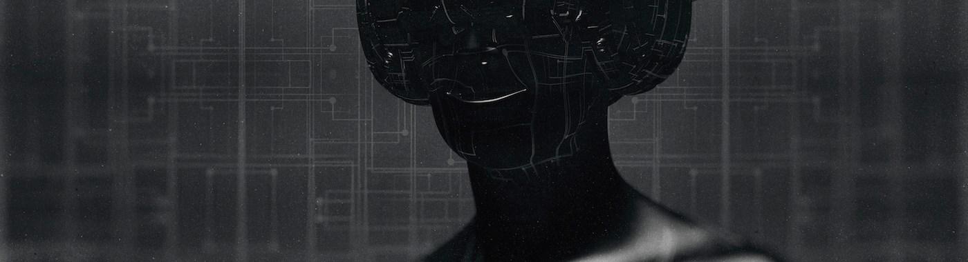 Virtual reality goggles and futuristic man.