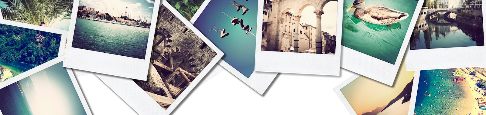 A pile of photographs with space for your logo or text.