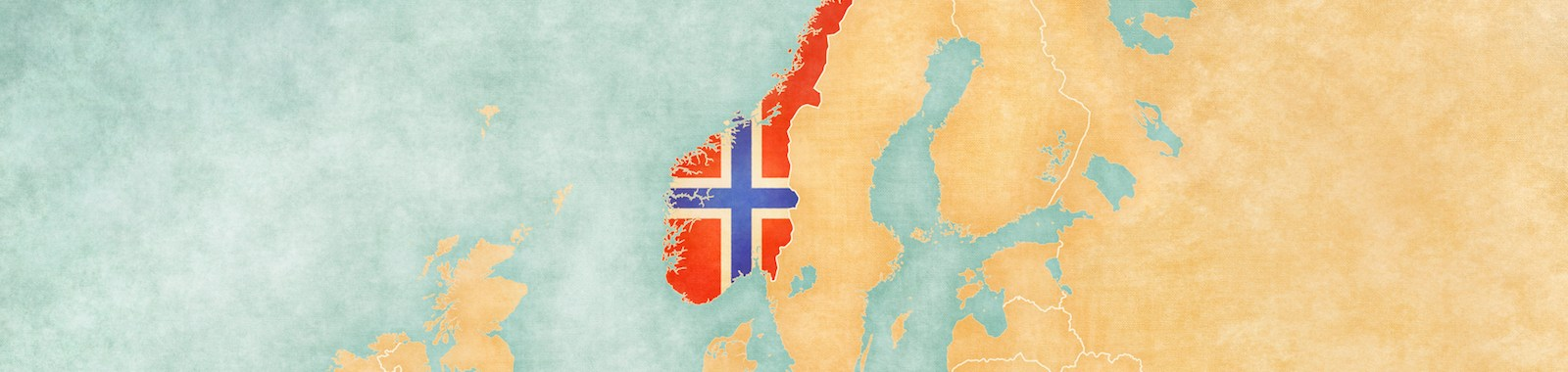 Norway (Norwegian flag) on the map of Europe. The Map is in vintage summer style and sunny mood. The map has a soft grunge and vintage atmosphere, which acts as watercolor painting on old paper.