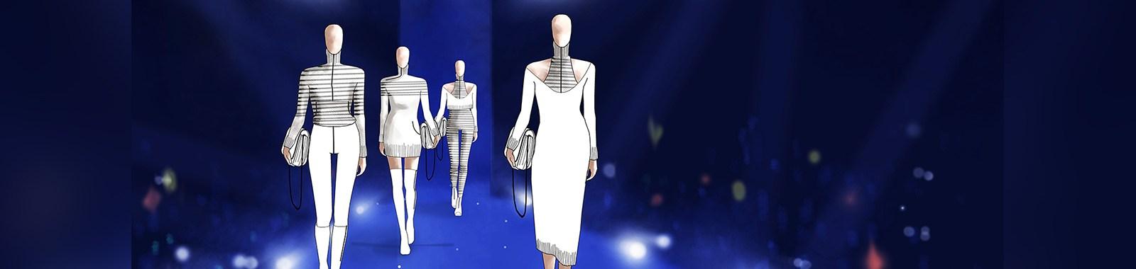 fashion sketch design on digital paint runway stage background