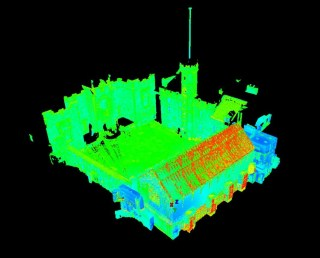 Registered point cloud of Great Hall interiors.