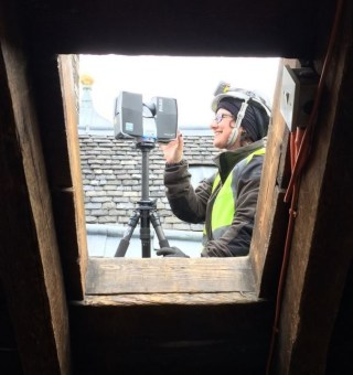 Scanning attics can be fun: laser scanning one of the attics with a Faro Focus 3D scanner through a hatch on the roof of the Palace block. Credits to @hephe1